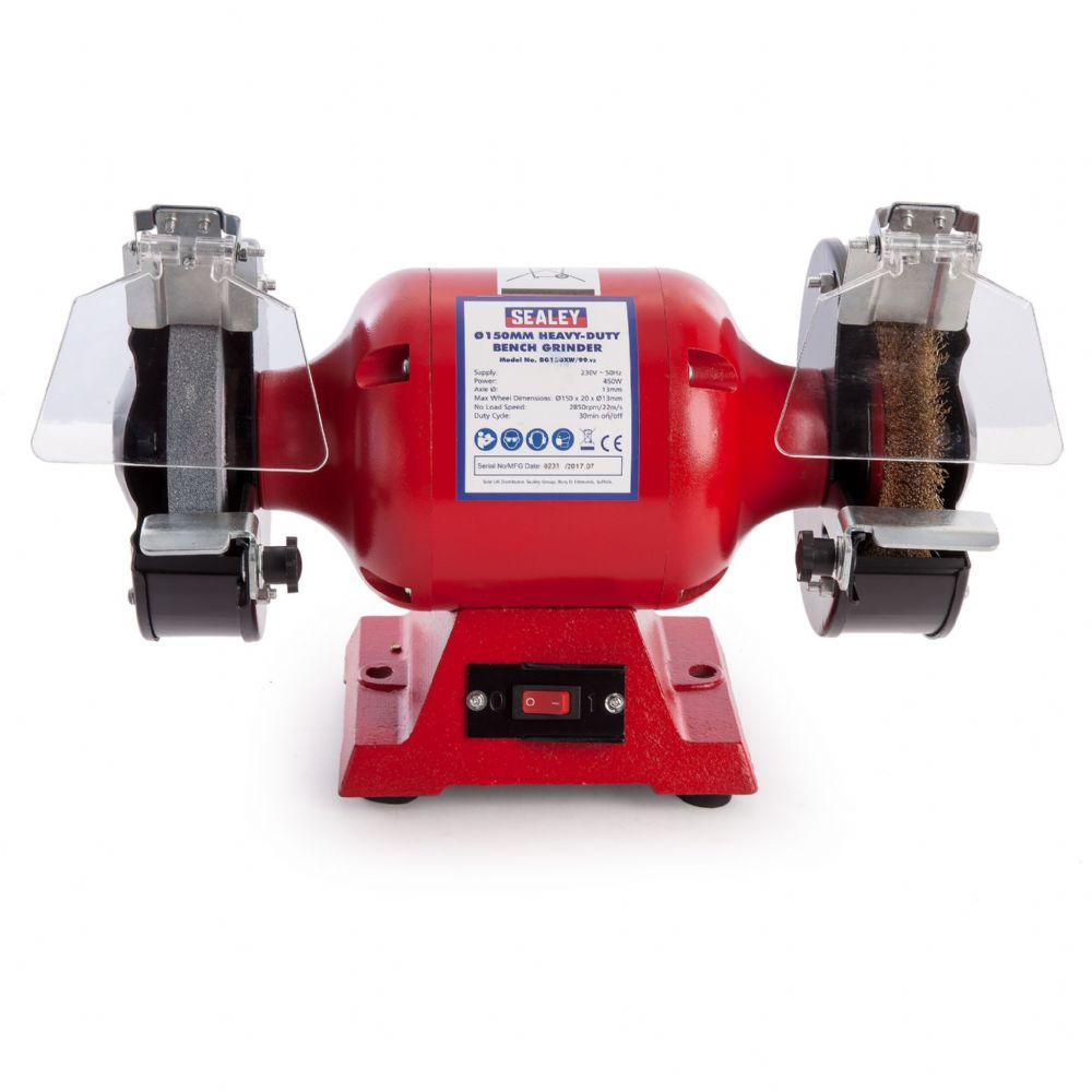 Sealey Bench Grinder 150mm with Wire Wheel 450W/230V Heavy-Duty